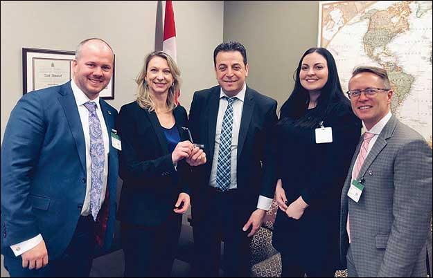 Left to right: Bryce Milliken – Edmonton, BILD Lethbridge EO Bridget Mearns, Ziad Aboultaif (MP for Edmonton Manning), CHBA Edmonton CEO Laura Bruno, Miles Kohan – Edmonton.