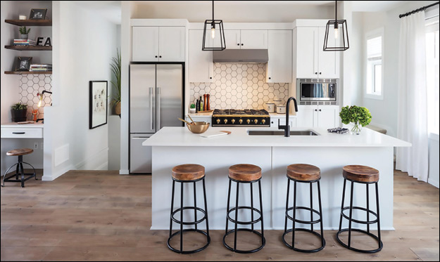 This 1,491-sq ft. Attached Production Home by award finalist Park Ridge Homes makes the most of its floorplan by incorporating an open-concept kitchen and an island.